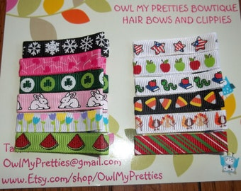 TWELVE MONTH CLIPS Set - Set of 12 Seasonal Hair Clips Clippies - Babies Toddlers Girls
