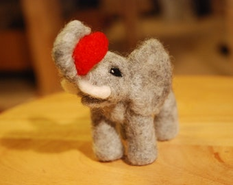 Needle Felted Elephant - Standing with heart