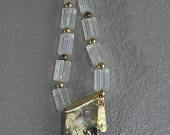chunky clear & gold beaded statement necklace with large pendant