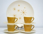 Mid Century Star Glow Coffee Cup and Saucer Set: Set of Four Royal China Ironstone