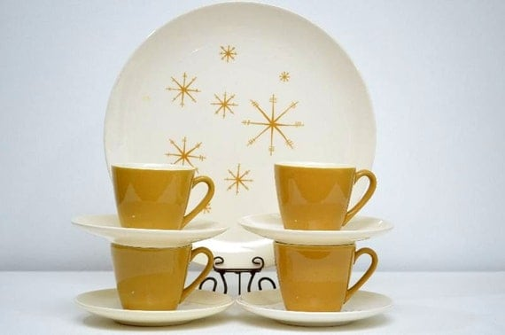 Vintage Star Glow Royal China Mid Century Ironstone Cup and Saucer: Set of Four