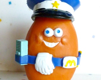 Vintage McDonald's Happy Meal Toys, McNugget Buddies, SARGE,  Policeman, Police officer, Chicken McNuggets, 1988, Food Toy