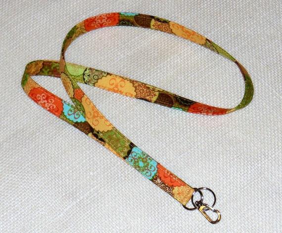 Fabric Lanyard  ID Badge Lanyard  Key Ring  Teacher Gift Natural Colors