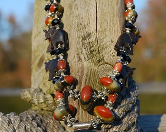 SET- Western Rodeo Cowgirl Handmade Artisan Elephant & Maltese Cross Necklace with Matching Earrings