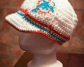 Miami Dolphins Inspired Crocheted Baseball Cap (Newborn - Children Size) (Made to Order)