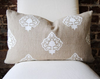 """White Medallion - Hand printed in India on Natural Linen - Pillow Cover size 14"""" x 24"""" Lumbar"""