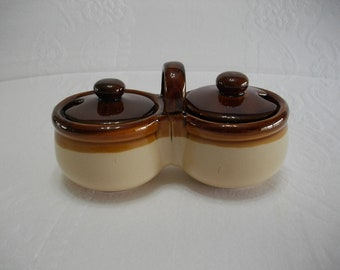 Stoneware Relish or Jelly Jam Serving Divided Bowls, Kitchen Decor