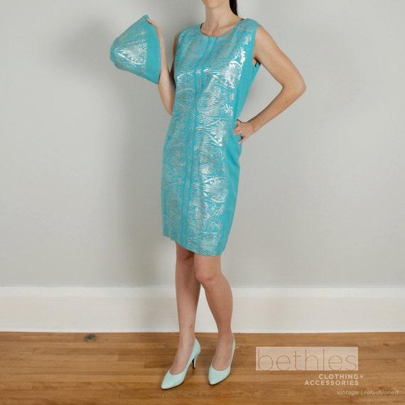 1960s Dress Mod Dress Blue and Silver Dress Short Blue Dress with Silver Lurex Summer Dress Vintage 60s Sleeveless Dress  and Hat