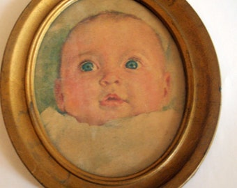 Vintage Baby Face Oval Framed Picture