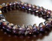 Sparkly Amethyst AB Rondelle Faceted Beads- 5x8mm, 10pcs