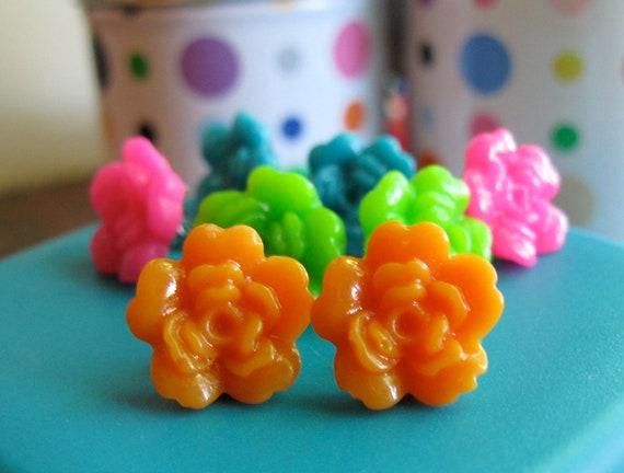 Flower Earring Set - Pink, Blue, Orange & Green Plastic Floral Stud Earrings - Set of 8 (4 Pairs)
