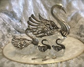 Reserved swan figurines,Repousse silver and crystal swan, repousse master swan salt set