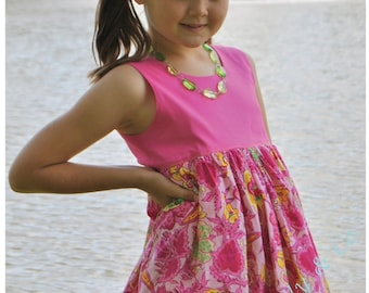 Bubble Dress - lined bodice - buttoned back - 9 months to 10 years - PDF Pattern and Tutorial