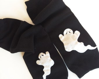 Halloween Baby Leg Warmers solid black with white ghost