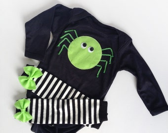 Ready to ship 18m halloween baby spider one piece with black and white striped lime bow leg warmers