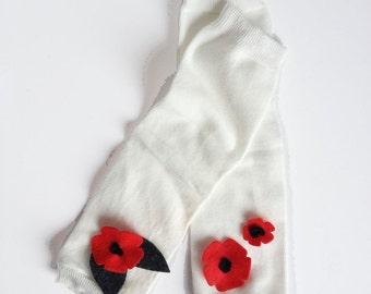 Winter Flower Baby Leg Warmers White, Red, Grey