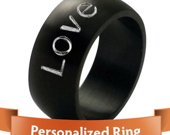 Personalized Jewelry - Personalized Ring-  Engraved Black color Stainless Steel Ring - The Perfect Gift