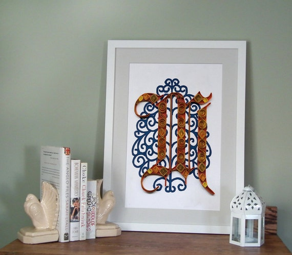 M - Monogram poster, initial Print, Quilled typography poster, Paper art print, 12x18 in, Ready to ship