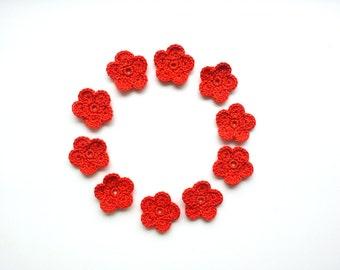 Crochet Flower Applique, Halloween Orange, Set of 10