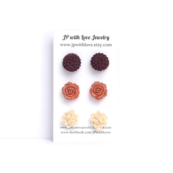 Stud earrings, flower, post earrings, peach, red, burgundy wine,