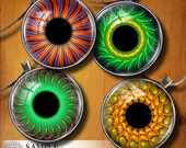 Fractal Eyes I - Printable Images - 20mm 18mm 16mm 14mm 12mm 10mm 8mm 5mm circles - Digital Collage Sheets for Jewelry, Doll Making CG-590