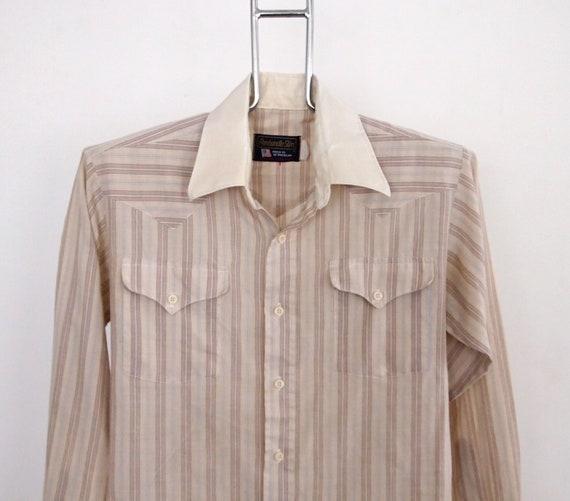 Striped Western Panhandle Slim Shirt size Medium 15.5 - 33 made in USA