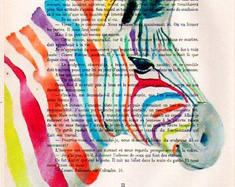 Digital Print Mixed Media Illustration Print Art Poster Acrylic Painting Wall hanging Drawing Illustration Glicee Wall decor: RAINBOW ZEBRA