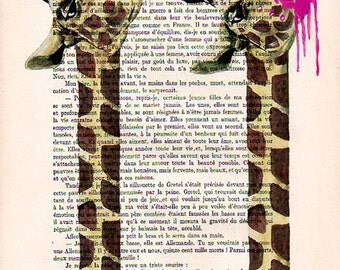 Drawing Illustration Giclee Prints Posters Mixed Media Art Acrylic Painting Holiday Decor Gifts:  Giraffe with bubblegum