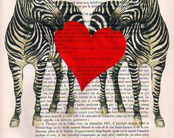 Mixed media prints posters Illustration Drawing painting acrylic digital Giclee Art Holiday Decor Gifts: Zebra Love