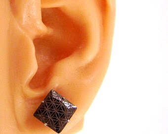 Flower of Life Post Earrings - Etched Sacred Geometry Black Cubic Zirconia Studs - Seed of Life