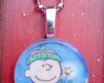 Charlie Brown Glass Tile Pendant/