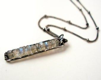 Labradorite Necklace Gemstone Jewelry Oxidized Sterling Silver Wire Wrapped Beeskers