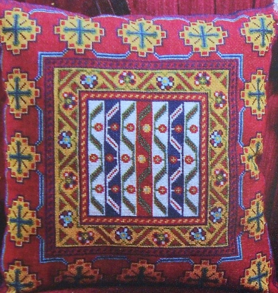 The Lois Caron Collection KHAMSEH PILLOW Persian Tribal - Counted Cross Stitch Pattern Chart - fam