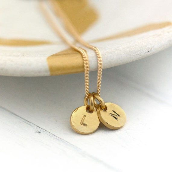 Gold Personalized Necklace / Two Initials Monogram Necklace / Hand Stamped Jewelry