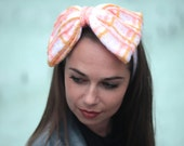 Hand Knit Hair Bow, Headband with a Knitted Bow, Knit Bow Tie Women Hair Accessories by Solandia, cream,pastel knitted gift Women Fashion,