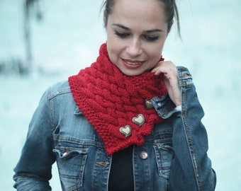 Hand Knit Wool Red Scarf, Red CLASSICA by Solandia, Heartshaped buttos, Christmas Gift, Knitted Gift, Valentines day gift