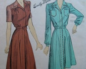 Fabulous Vintage 40's Women's Dress Pattern FUNCTIONAL FORTIES FROCK Factory Folded