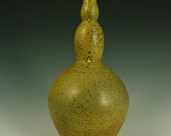 Tri Level Gourd Shaped Bottle of Green and Yellow