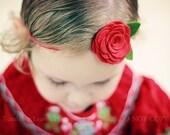 Red Wool Felt Rose Headband - Newborn Baby Headband to Adult