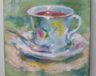 Original Oil Painting of Teacup 10x10 gallery wrapped by Alberto of PaintedMoments