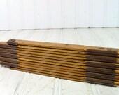 Yellow Wood & Brass Lufkin Folding Ruler - Vintage Artisan Measuring Tool - Red Chippy Paint