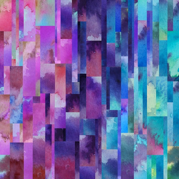 NORTHERN LIGHTS abstract geometric watercolor art print in pink, purple, blue