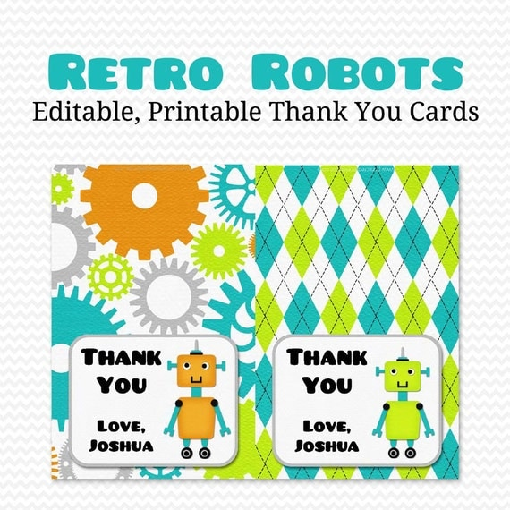 Robot Thank You Cards, Thank You Notes, Personalized Note Cards, Robot Baby Shower, First Birthday -- Editable, Printable, Instant Download