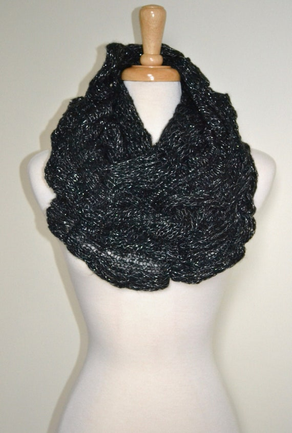 SALE 9.99 Black Loose Knitted Sparkly Cozy Infinity Loop Circle Eternity Scarf Snood Cowl SALE BLACK Sparkly Women's Accessory Fashion