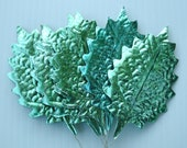Vintage Millinery Flower Supply Metallic Jade Green Foil Christmas Holly DIY Craft Leaves O SM
