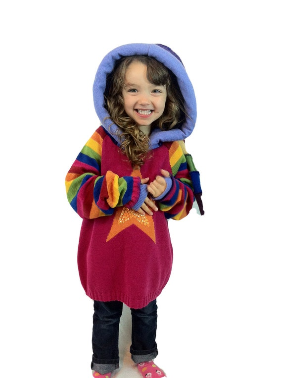 Rainbow Bright Upcycled child's elf hoodie sweater by Hope Floats Upcycled