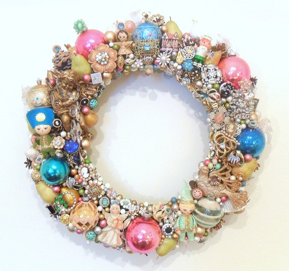 Christmas Wreath Loaded With Vintage Jewelry & Ornaments