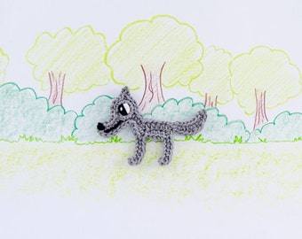 Instant Download - New PDF Crochet Pattern - Wolf Applique - Text instructions and SYMBOL CHART instructions
