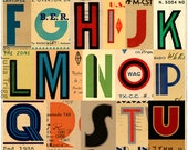 Limited edition large print. Art Deco alphabet, 1930s style. Typography ephemera, vintage letters. Signals: 1935 (A to Z),  420 x 594mm