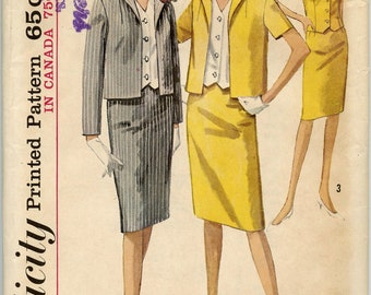 1960s Simplicity 5358 Suit Pattern Skirt Weskit Blouse and Jacket Vintage Sewing Pattern Bust 34 UNCUT